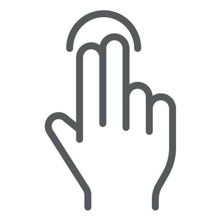 Two finger tap line icon, gesture and hand, touch sign, vector graphics, a linear pattern on a white background, eps 10.