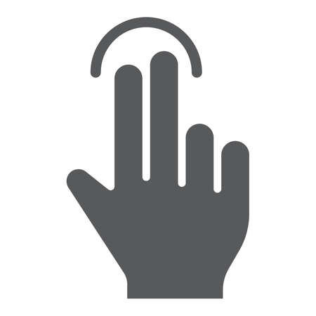 Two finger tap glyph icon, gesture and hand, touch sign, vector graphics, a solid pattern on a white background, eps 10.
