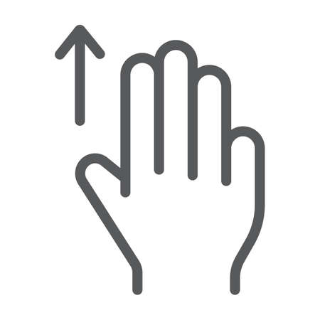 Three fingers drag up line icon, gesture and hand, scroll up sign, vector graphics, a linear pattern on a white background, eps 10.