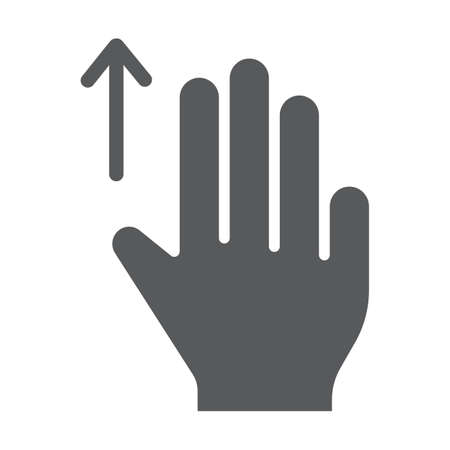 Three fingers drag up glyph icon, gesture and hand, scroll up sign, vector graphics, a solid pattern on a white background, eps 10.