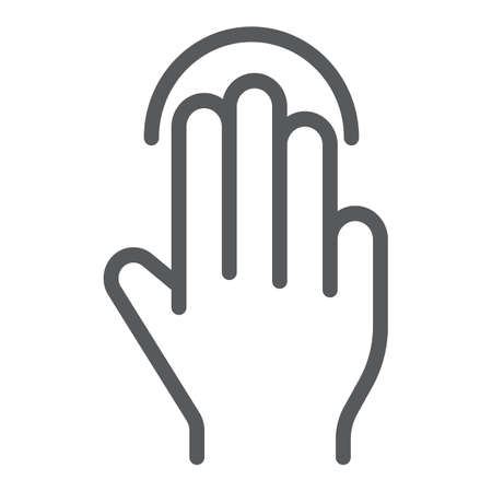 Triple tap line icon, gesture and hand, click sign, vector graphics, a linear pattern on a white background. 向量圖像