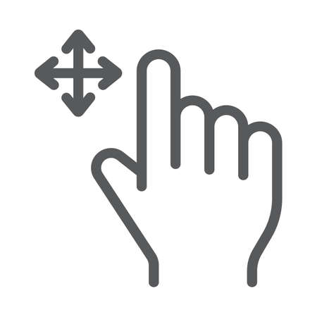 Free drag line icon, gesture and hand, swipe sign, vector graphics, a linear pattern on a white background, eps 10.