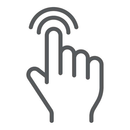 Double tap line icon, finger and gesture, click sign, vector graphics, a linear pattern on a white background.
