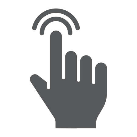 Double tap glyph icon, finger and gesture, click sign, vector graphics, a solid pattern on a white background, eps 10.
