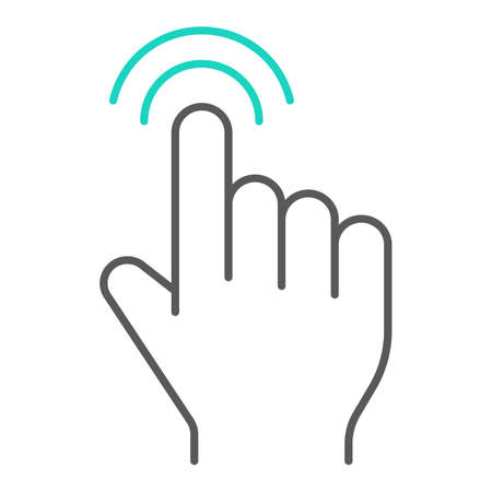 Double tap thin line icon, finger and gesture, click sign, vector graphics, a linear pattern on a white background, eps 10.