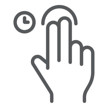Two fingers touch and hold line icon, gesture and hand, swipe sign, vector graphics, a linear pattern on a white background, eps 10. Çizim