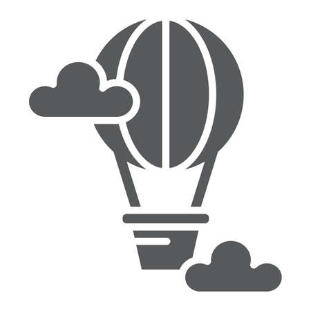 Hot air balloon glyph icon, airship and travel, balloon sign, vector graphics, a solid pattern on a white background, eps 10.