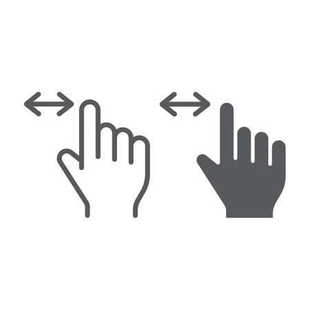 Horizontal scroll line and glyph icon, finger and gesture, hand sign, vector graphics, a linear pattern on a white background, eps 10.