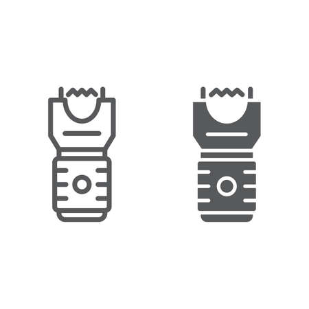 Electroshock weapon line and glyph icon, protection and security, firearm sign, vector graphics, a linear pattern on a white background, eps 10.