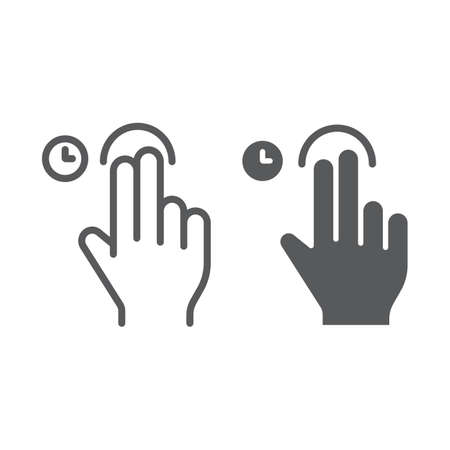 Two fingers touch and hold line and glyph icon, gesture and hand, swipe sign, vector graphics, a linear pattern on a white background, eps 10. Çizim