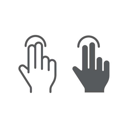Two finger tap line and glyph icon, gesture and hand, touch sign, vector graphics, a linear pattern on a white background, eps 10.