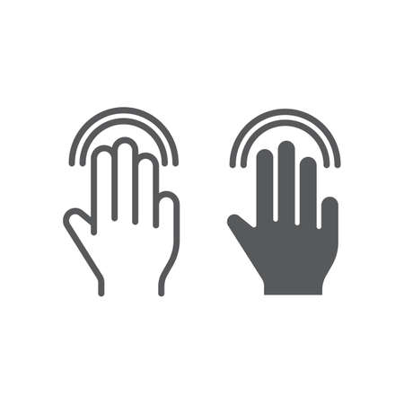 Triple double tap line and glyph icon, gesture and hand, click sign, vector graphics, a linear pattern on a white background, eps 10. 向量圖像