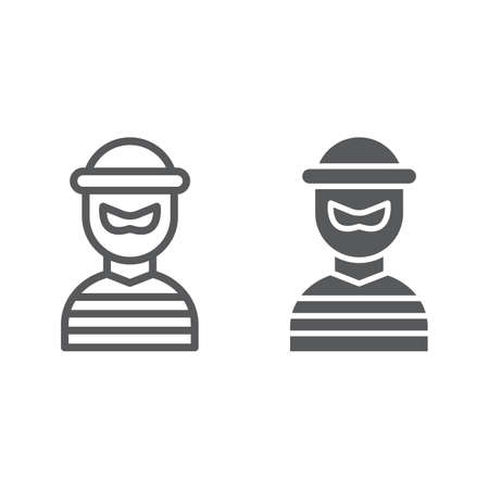 Robber line and glyph icon, burglar and criminal, bandit sign, vector graphics, a linear pattern on a white background, eps 10. Illustration