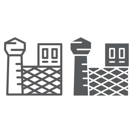 Prison line and glyph icon, building and security, jail sign, vector graphics, a linear pattern on a white background, eps 10.