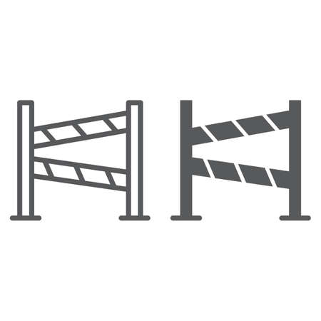 Road fence line and glyph icon, construction and border, barrier sign, vector graphics, a linear pattern on a white background, eps 10. Stock Illustratie