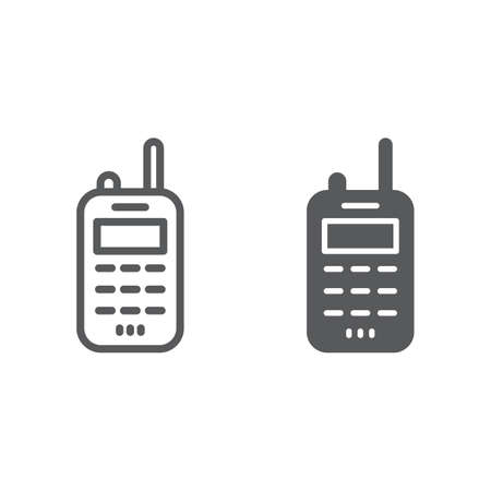 Walkie talkie line and glyph icon, transmitter and communication, radio set sign, vector graphics, a linear pattern on a white background.
