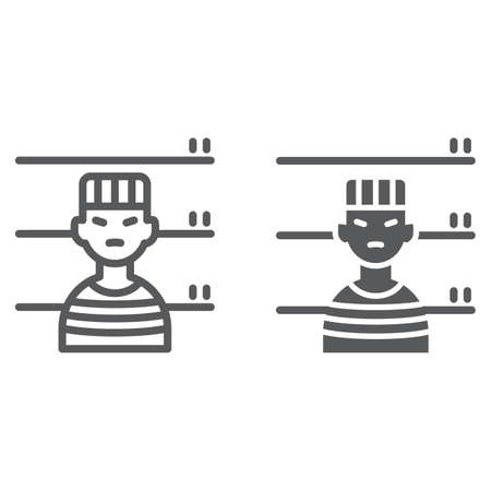 Prisoner line and glyph icon, criminal and jail, man sign, vector graphics, a linear pattern on a white background, eps 10.