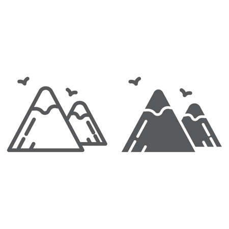Mountains line and glyph icon, nature and landscape, rock sign, vector graphics, a linear pattern on a white background.