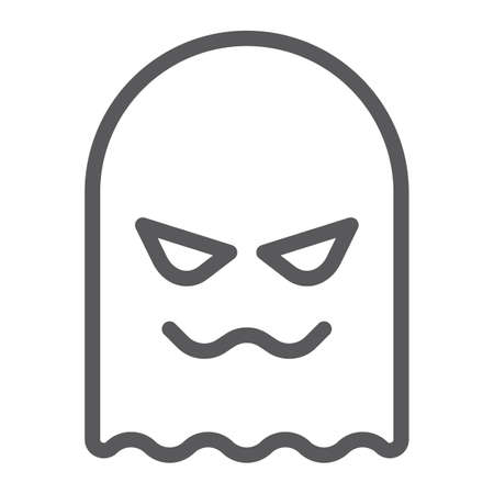 Ghost line icon, horror and character, horror sign, vector graphics, a linear pattern on a white background.