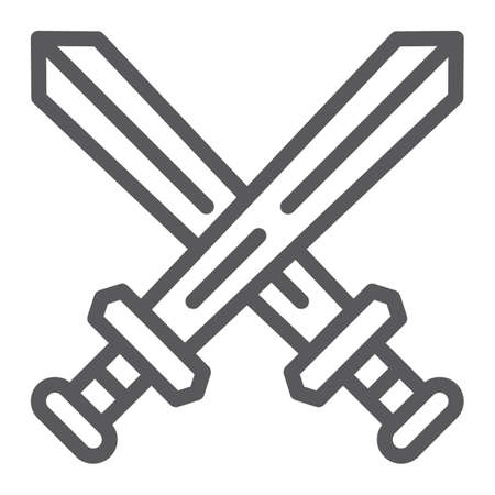 Fighting line icon, game and play, crossed swords sign, vector graphics, a linear pattern on a white background, eps 10.