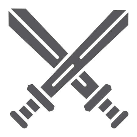 Fighting glyph icon, game and play, crossed swords sign, vector graphics, a solid pattern on a white background, eps 10.