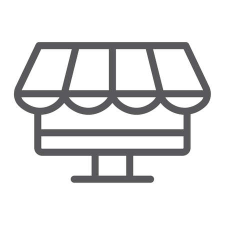 Game shop line icon, game and buy, store sign, vector graphics, a linear pattern on a white background.