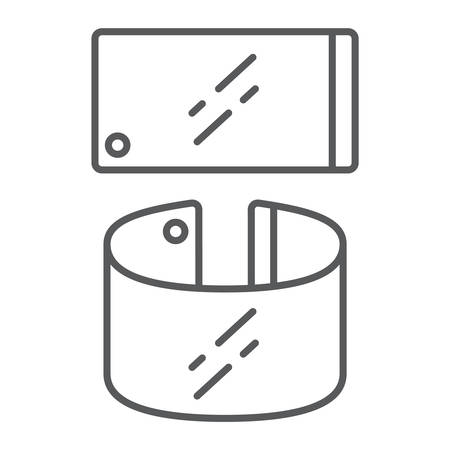 Flexible smartphone thin line icon, gadget and technology, phone sign, vector graphics, a linear pattern on a white background, eps 10.
