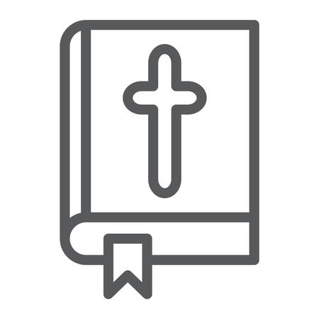 Bible line icon, church and religion, book with cross sign, vector graphics, a linear pattern on a white background.
