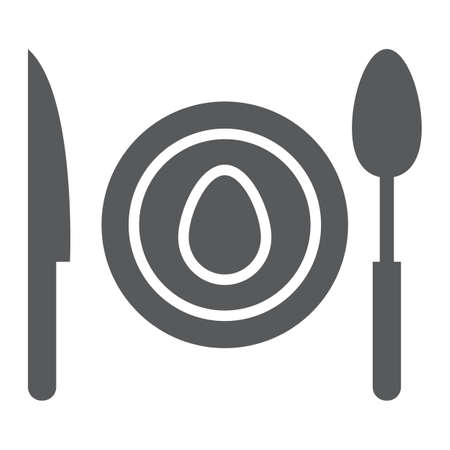 Dinner glyph icon, food and dishware, plate sign, vector graphics, a solid pattern on a white background, eps 10.