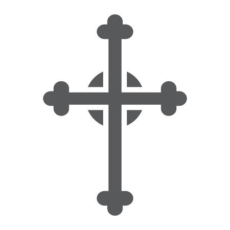 Cross glyph icon, church and religion, christian cross sign, vector graphics, a solid pattern on a white background.