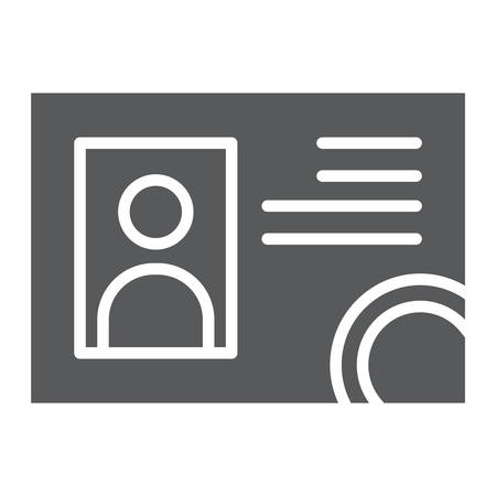 Driver license glyph icon, documents and card, identification sign, vector graphics, a solid pattern on a white background.