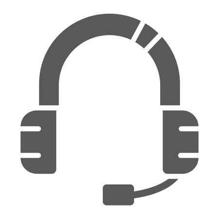 Customer service glyph icon, support and service, headset sign, vector graphics, a solid pattern on a white background. Vetores