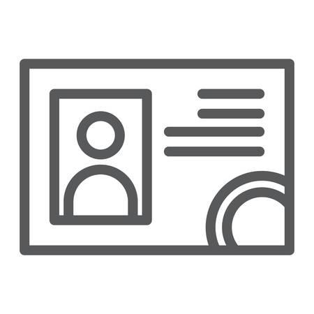 Icona della linea della patente di guida, documenti e carta, segno di identificazione, grafica vettoriale, un modello lineare su uno sfondo bianco.