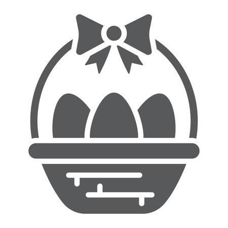 Easter eggs in basket glyph icon, decoration and easter, easter hamper sign, vector graphics, a solid pattern on a white background.