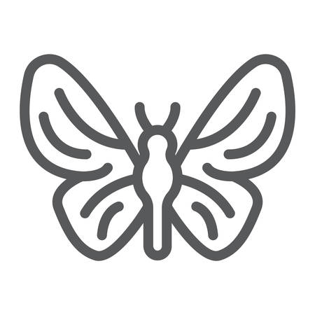 Butterfly line icon, nature and fly, insect sign, vector graphics, a linear pattern on a white background.