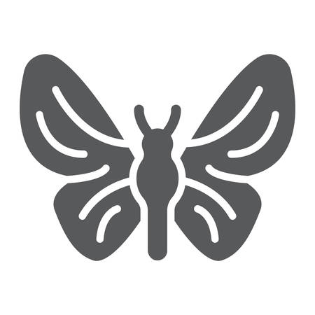 Butterfly glyph icon, nature and fly, insect sign, vector graphics, a solid pattern on a white background.