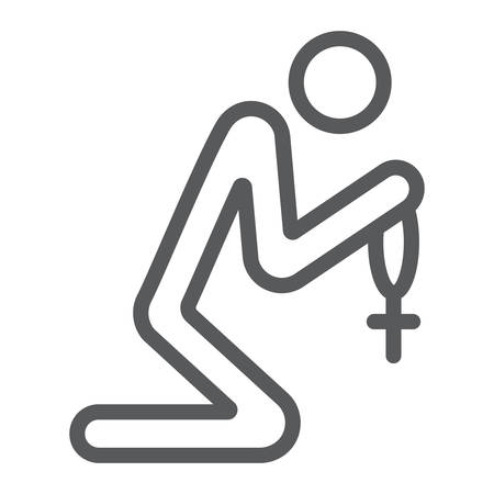 Prayer line icon, religious and pray, person sign, vector graphics, a linear pattern on a white background. Ilustração
