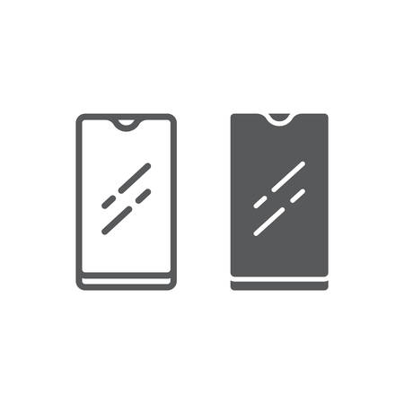 Smartphone with waterproof camera line and glyph icon, device and communication, phone sign, vector graphics, a linear pattern on a white background.