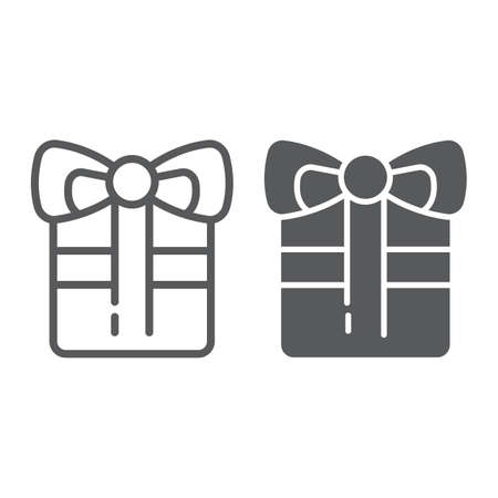 Gift line and glyph icon, celebration and package, present sign, vector graphics, a linear pattern on a white background, eps 10. Archivio Fotografico - 125159014