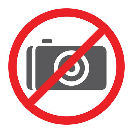 No photo glyph icon, prohibited and ban, no camera sign, vector graphics, a solid pattern on a white background.  イラスト・ベクター素材