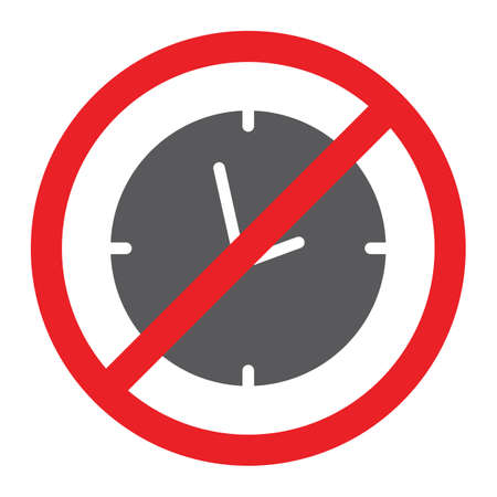 No clock glyph icon, prohibited and ban, no time sign, vector graphics, a solid pattern on a white background.