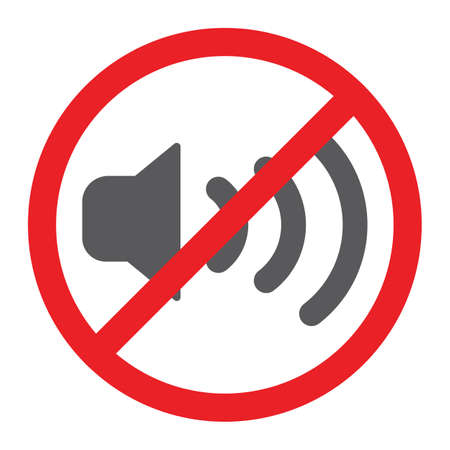 No sound glyph icon, prohibited and silence, no noise sign, vector graphics, a solid pattern on a white background.