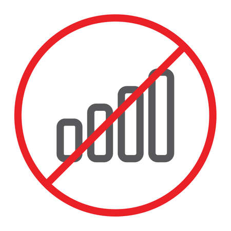 No signal line icon, prohibited and ban, no connection sign, vector graphics, a linear pattern on a white background.