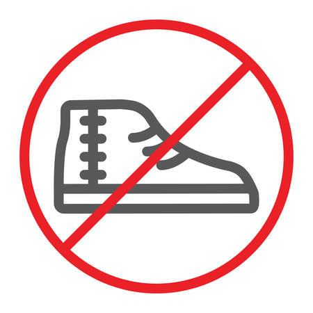 Aucune icône de ligne de chaussures, interdite et interdite, aucun signe de chaussures, graphiques vectoriels, un dessin linéaire sur fond blanc.