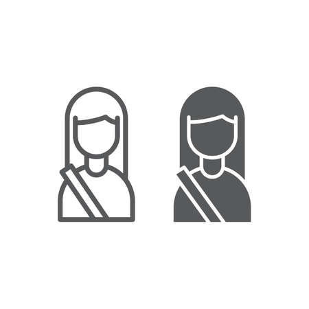 Passenger line and glyph icon, human and taxi, girl sign, vector graphics, a linear pattern on a white background, eps 10.