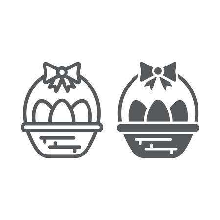Easter eggs in basket line and glyph icon, decoration and easter, easter hamper sign, vector graphics, a linear pattern on a white background.