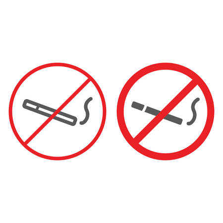No smoking line and glyph icon, prohibited and forbidden, no cigarette sign, vector graphics, a linear pattern on a white background. Illustration