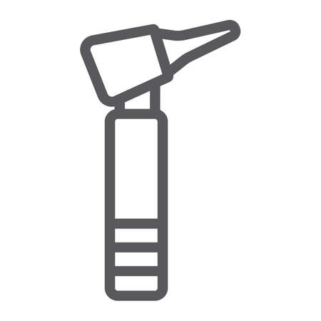 Otoscope line icon, medicine and equipment, hospital tool sign, vector graphics, a linear pattern on a white background. Illustration