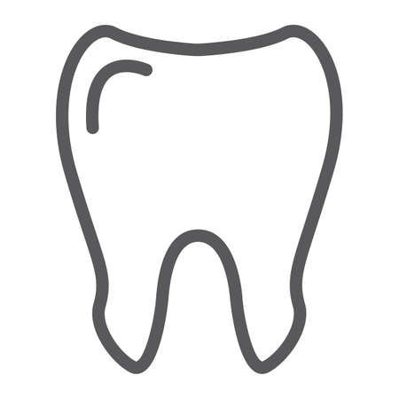 Tooth line icon, medicine and dentist, dental sign, vector graphics, a linear pattern on a white background.