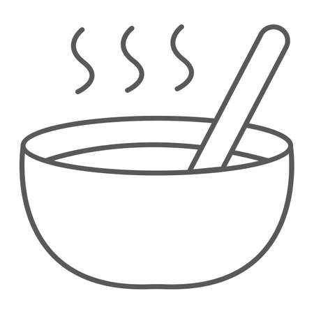 Soup thin line icon, food and meal, bowl sign, vector graphics, a linear pattern on a white background.